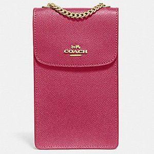 Coach North/South Phone Crossbody Bag Rouge Gold